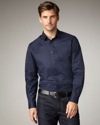 Elie Tahari | Blue Julian Scroll-print Woven Shirt for Men | Lyst