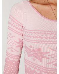 Free People - Pink Intarsia Bodysuit - Lyst