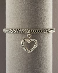John Hardy - Metallic Bamboo Heart Charm Bracelet - Lyst