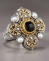 Konstantino - Metallic Onyx & Pearl Cross Ring - Lyst