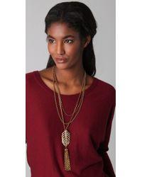 Lulu Frost - Metallic Drift Feather Tassle Necklace - Lyst