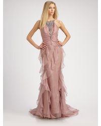 Badgley Mischka   Purple Chiffon Gown    Lyst