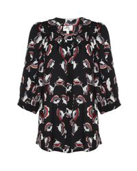 MILLY | Red Poppy Print Blouse | Lyst