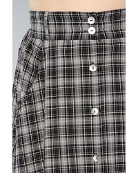 MINKPINK - Gray Check Republic Button Through Maxi Skirt - Lyst