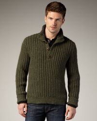 Bliss and Mischief | Green Halsey Ribbed Henley Sweater for Men | Lyst