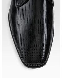 Prada - Black Perforated Blucher Oxfords for Men - Lyst