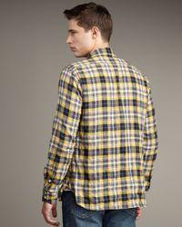 Rag & Bone - Yellow Three Quarter Placket Plaid Shirt for Men - Lyst