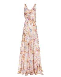 Theyskens' Theory   Pink Marble Print Maxi Dress   Lyst