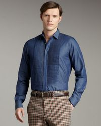 Valentino | Blue Pleated Shirt for Men | Lyst