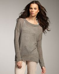 Vince   Green Sheer Linen Sweater   Lyst
