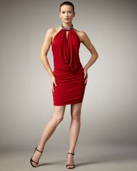 Alberto Makali | Red Jewel-Neck Halter Dress | Lyst