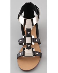 Boutique 9 - Black Porsha Metal T Strap Sandals - Lyst