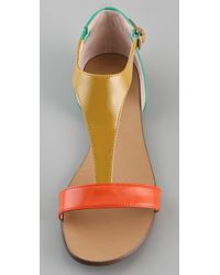 Boutique 9 | Orange Piraya Multicolor T Strap Sandals | Lyst