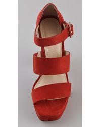 Elizabeth and James - Orange Suede Platform Sandals - Lyst