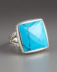 John Hardy | Blue Batu Square Turquoise Ring | Lyst
