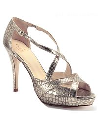 kate spade new york - Get - Metallic Platinum Leather Crocodile Printed Platform Strappy Sandal - Lyst