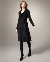 MILLY   Black Maggie Ruffled Wrap Dress   Lyst