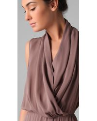 Parker - Brown Draped Front Dress - Lyst