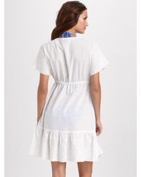 Shoshanna | White Short Sleeve Cotton Coverup | Lyst