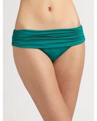 Badgley Mischka | Green Shirred Fold-Over Bikini Bottom | Lyst