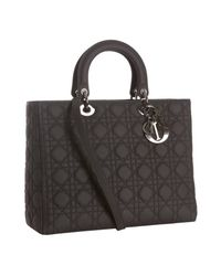 Dior | Black Quilted Matte Leather Lady Top Handle Bag | Lyst