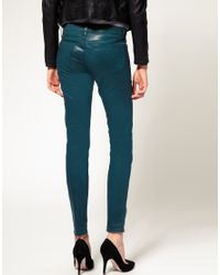 J Brand - Blue Low Rise Coated Legging Jeans In Teal - Lyst