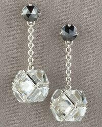 Paolo Costagli | Metallic Black Diamond & White Topaz Dangle Earrings | Lyst