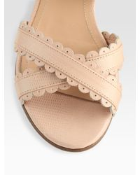 See By Chloé - Multicolor Leather Scallop Edge Flat Sandals - Lyst
