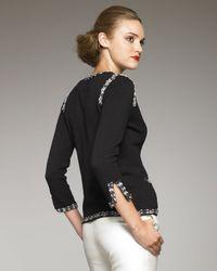 Carolina Herrera - Black Tweed-trim Cardigan - Lyst
