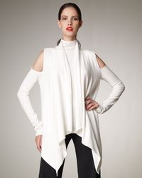 Donna Karan | White Cold-shoulder Draped Cardigan | Lyst