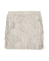 MICHAEL Michael Kors - Natural Fringed Suede Mini Skirt - Lyst