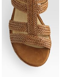 Stuart Weitzman | Natural Weaveit Woven Leather Slingback Platform Sandals | Lyst