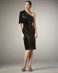 Badgley Mischka | Black One-shoulder Velvet Cocktail Dress | Lyst
