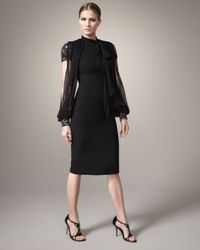 Badgley Mischka - Black Short Sleeve-illusion Dress - Lyst
