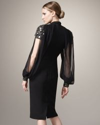Badgley Mischka | Black Short Sleeve-illusion Dress | Lyst