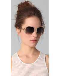 Matthew Williamson | Metallic Acetate Rounded Sunglasses | Lyst