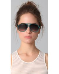 Matthew Williamson - Green Aviator Sunglasses - Lyst
