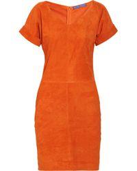 Ralph Lauren Collection | Orange Shiloh Suede Dress | Lyst