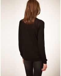 ASOS Collection   Black Asos Oversize Top with Flocked Bird   Lyst
