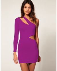 ASOS Collection | Purple Asos Bodycon Dress with One Sleeve | Lyst