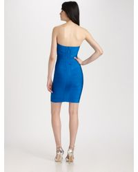 Hervé Léger | Blue Strapless Dress | Lyst