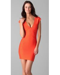 Hervé Léger | Orange V-neck Dress with Cut Out Detail | Lyst