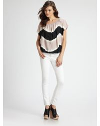 Joie | White Caro Tie-dyed Silk Top | Lyst