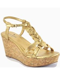 kate spade new york | Metallic Gold Leather Cork Wedge Sandal | Lyst