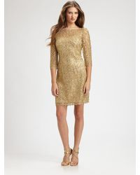 Kay Unger | Metallic Lace Dress | Lyst