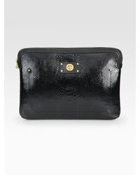 "Marc By Marc Jacobs | Black Tech Turnlock Python-Print Patent Leather 13"" Laptop Case 