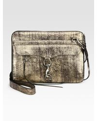 "Rebecca Minkoff | 15"" Snake-Stamped Metallic Leather Laptop Case 