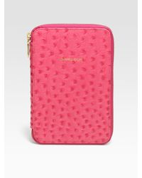 Rebecca Minkoff | Pink Ostrich-Stamped Leather Kindle Case | Lyst