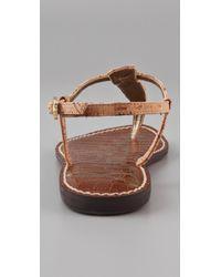 Sam Edelman - Brown Gigi Cork T Strap Flat Sandals - Lyst