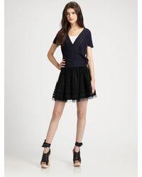 Theory   Black Virsha Tulle Silk-trimmed Mini Skirt   Lyst